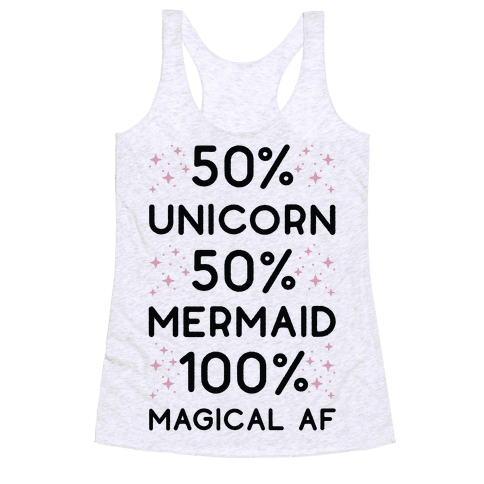 50% Unicorn 50% Mermaid Racerback Tank Top