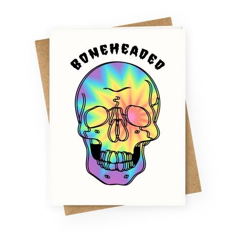 Boneheaded Trippy Skull Greeting Card