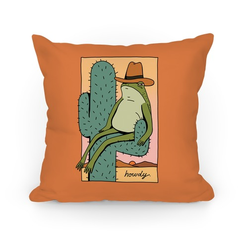 Howdy Frog Cowboy Pillow