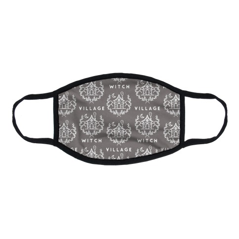 Village Witch Pattern Grey Flat Face Mask