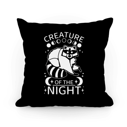 Creature Of The Night Raccoon Pillow