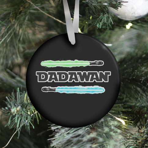 Padawan Dadawan Star Wars Parody Blue/Green Light Sabers Ornament