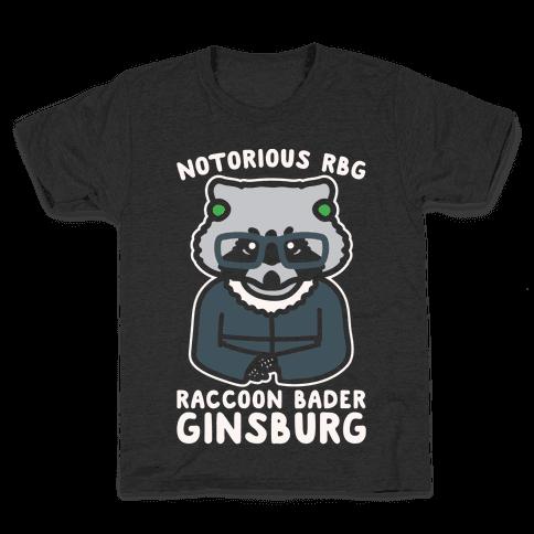 Notorious RBG Raccoon Bader Ginsburg Parody White Print Kids T-Shirt