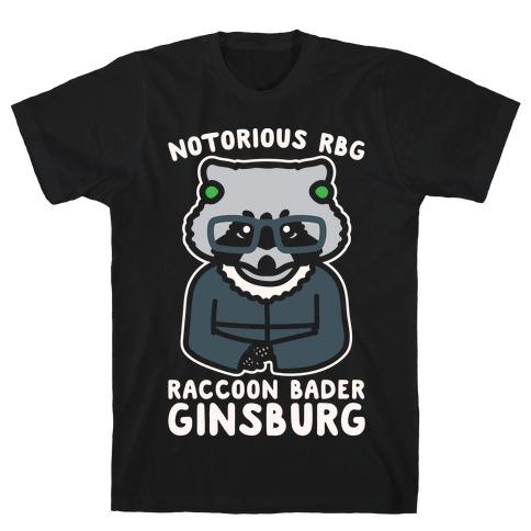 Notorious RBG Raccoon Bader Ginsburg Parody White Print T-Shirt