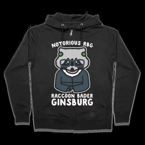 Notorious RBG Raccoon Bader Ginsburg Parody White Print Zip Hoodie
