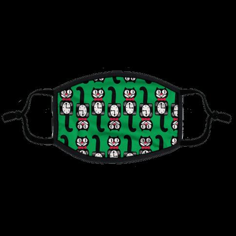 Retro Christmas Cat Clock Pattern Flat Face Mask