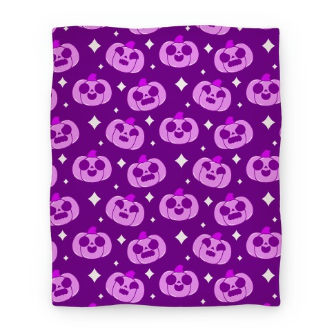 Kawaii Pumpkins Pattern Purple Blanket