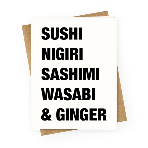 Sushi Nigiri Sashimi Wasabi & Ginger Greeting Card