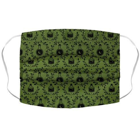 Potion Pattern Green Accordion Face Mask