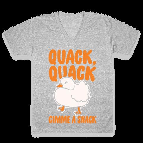 Quack Quack Gimme A Snack Duck White Print V-Neck Tee Shirt