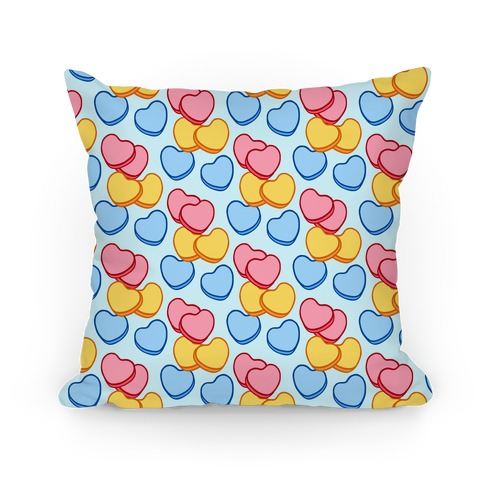 Candy Hearts Pattern Blue Pillow