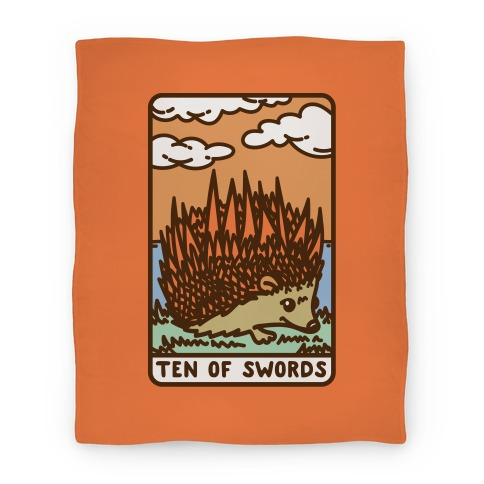 Ten of Swords HedgeHog Tarot Parody Blanket