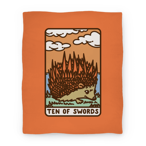 Ten of Swords HedgeHog Tarot Parody Blanket