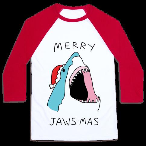 Merry Jaws-mas Christmas Baseball Tee