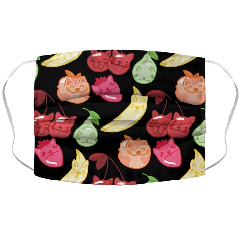 Kawaii Fruit Kitties Pattern Accordion Face Mask