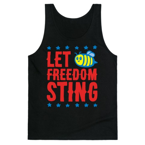 Let Freedom Sting White Print Tank Top