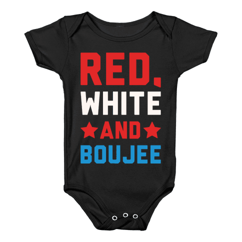 Red White And Boujee White Print Baby Onesy