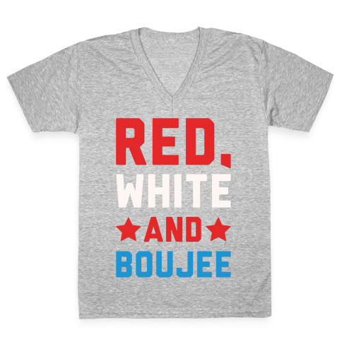 Red White And Boujee White Print V-Neck Tee Shirt