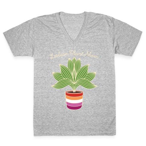 Lesbian Plant Mom V-Neck Tee Shirt