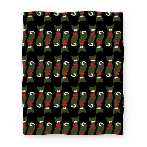 Mid-Century Christmas Cat Pattern Blanket