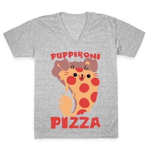 PUPPERoni Pizza V-Neck Tee Shirt
