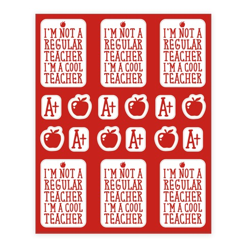 Cool Teacher Sticker Sheet Sticker and Decal Sheet