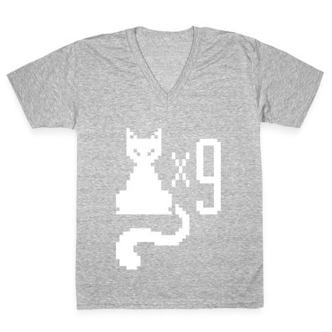 Retro Cat 9 lives V-Neck Tee Shirt