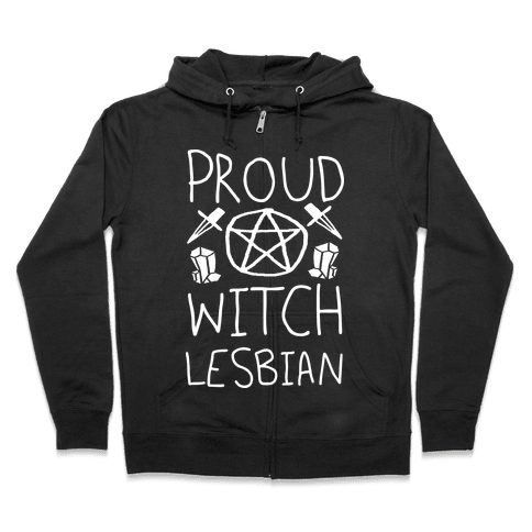 Proud Witch Lesbian Zip Hoodie
