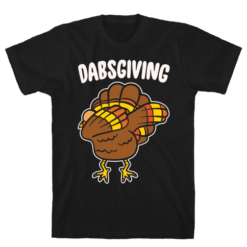 Dabsgiving Parody White Print Mens T-Shirt