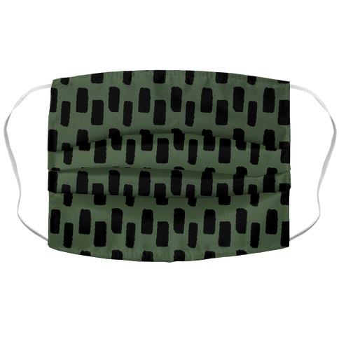 Organic Rectangle Pattern Green Accordion Face Mask