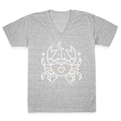 Astrology Cancer Crab V-Neck Tee Shirt
