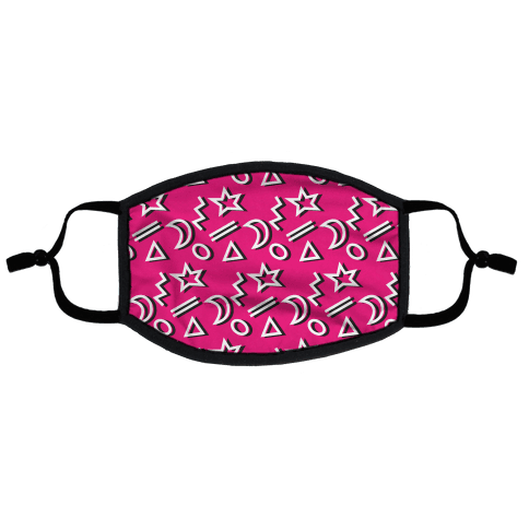 90's Pink Party Pattern Flat Face Mask