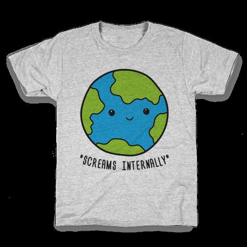 Earth Screams Internally Kids T-Shirt