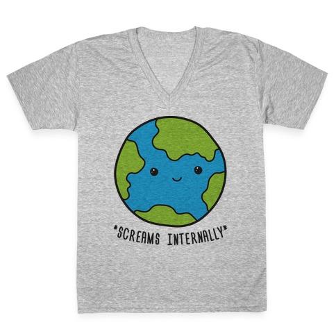 Earth Screams Internally V-Neck Tee Shirt