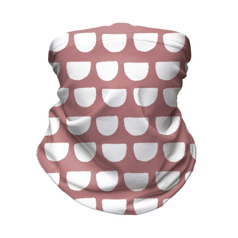 Simple Scallop Pattern Dusty Pink Neck Gaiter
