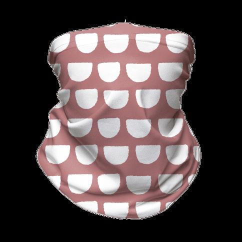 Simple Scallop Pattern Dusty Pink Neck Gaiter