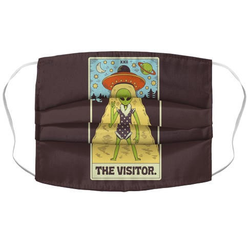 The Visitor Alien Tarot Card Accordion Face Mask