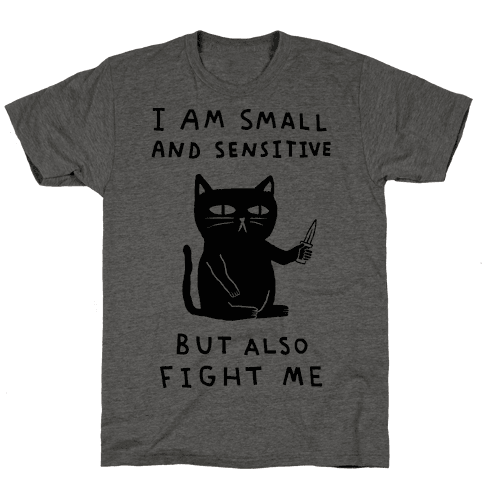 I Am Small And Sensitive But Also Fight Me Cat Mens/Unisex T-Shirt