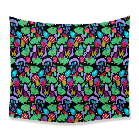 Magical Mushroom Frogs Pattern Tapestry