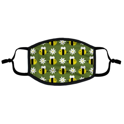 Dainty Bees and Daisies Pattern Green Flat Face Mask