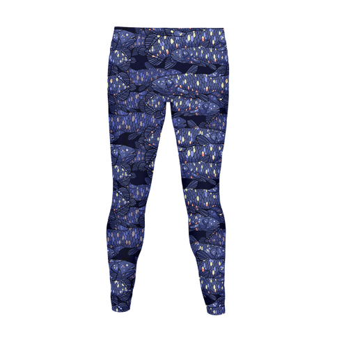 NAUTICAL COELACANTH FISH PATTERN Women's Legging