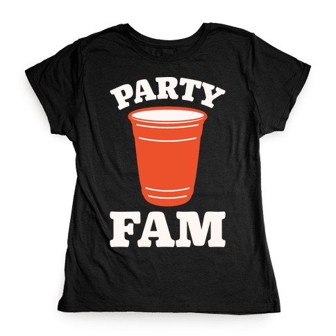 Party Fam White Print Womens T-Shirt