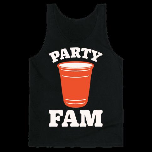Party Fam White Print Tank Top