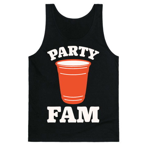 Party Fam White Print Tank Top