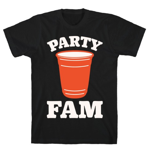 Party Fam White Print T-Shirt
