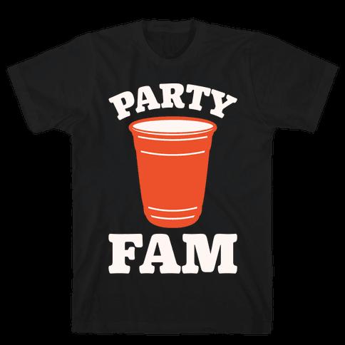 Party Fam White Print Mens T-Shirt