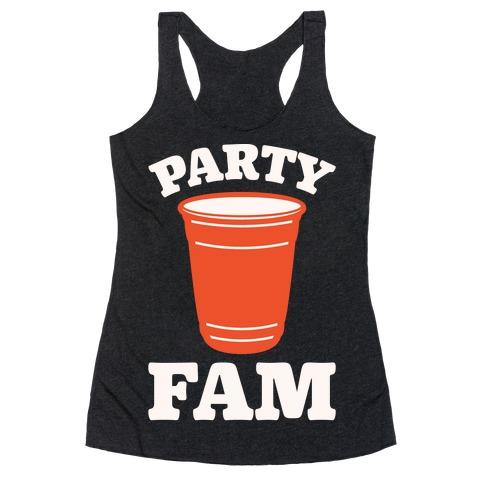 Party Fam White Print Racerback Tank Top