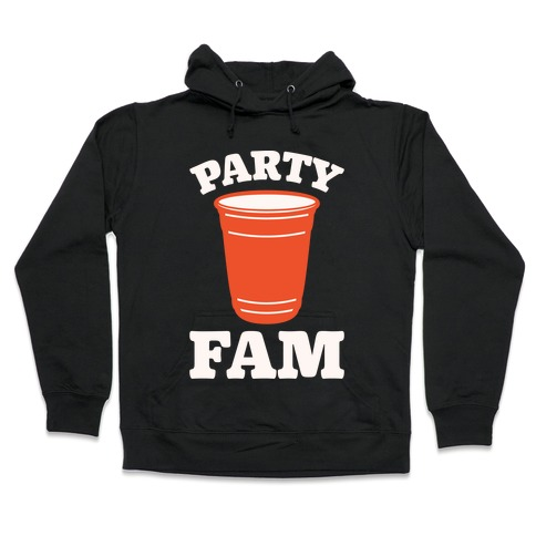 Party Fam White Print Hooded Sweatshirt