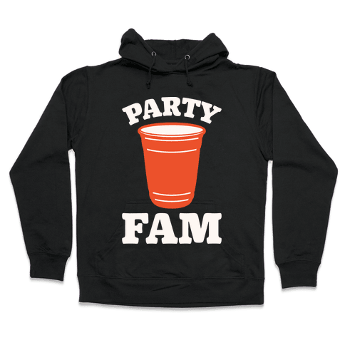 Party Fam White Print Hooded Sweatshirt