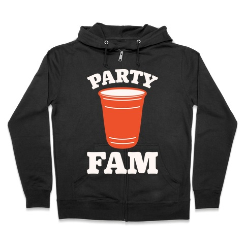 Party Fam White Print Zip Hoodie